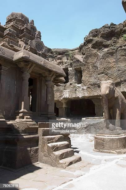 """Old ruins of a rocky structure, Kailash Temple, Ellora, Aurangabad, Maharashtra, India"""