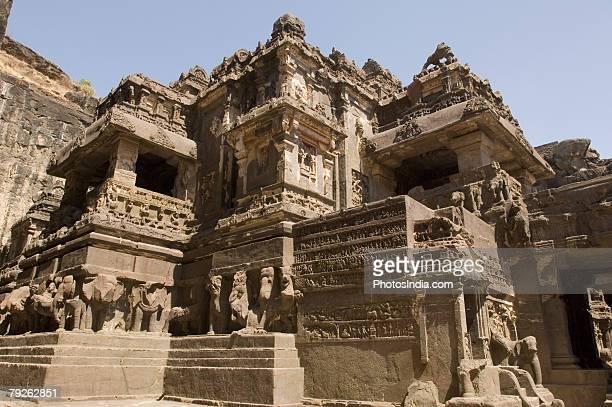 'Old ruins of a temple, Ellora, Kailash temple, Aurangabad, Maharashtra, India'