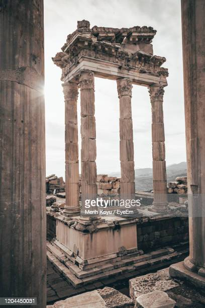 old ruins of building pergamon - bergama stock pictures, royalty-free photos & images