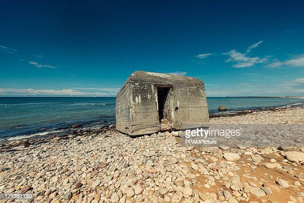 old ruins of bunker - military invasion stock pictures, royalty-free photos & images