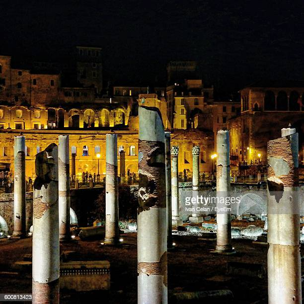 Old Ruins Of Historic Building At Night