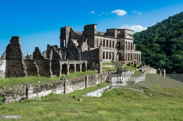 old ruins of sanssouci palace against sky during sunny day, haiti, caribbean - haiti stock pictures, royalty-free photos & images