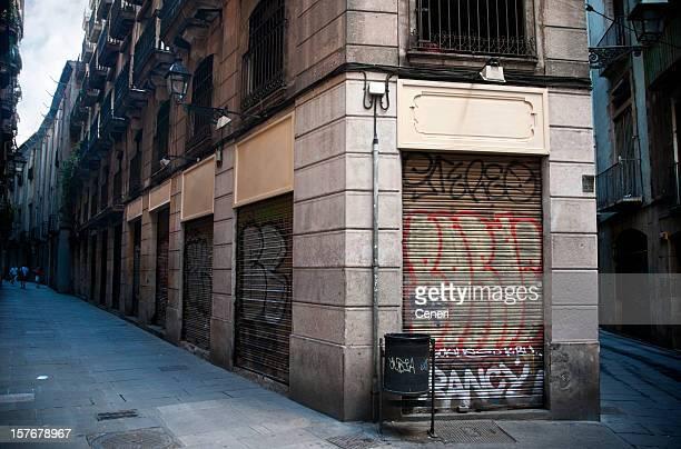 Old Rustic Streets in Barri Gotic, Barcelona Spain