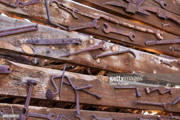 old rustic tools - chris putnam stock pictures, royalty-free photos & images