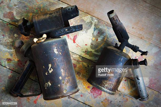 Old rusty blow lamps
