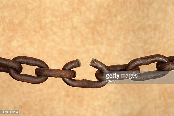 Old rusty chain with broken link