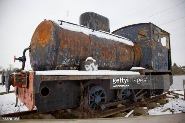 old rusty scrap tank engine locomotive - ship funnel stock photos and pictures