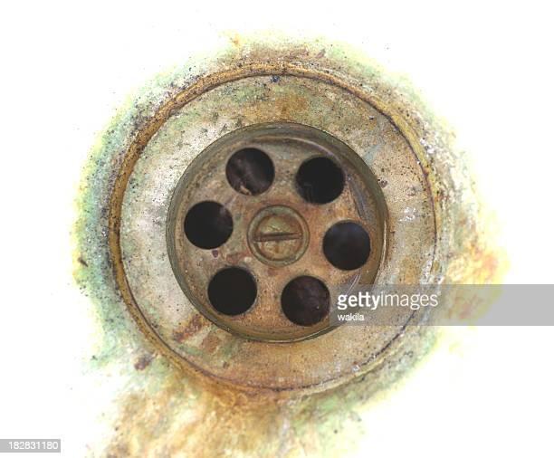 old rusty fregadero eflujo alterar Abfluss im Waschbecken mit Rost