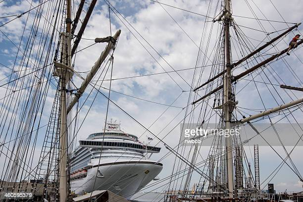 old sailing ship and modern cruise liner - galveston stock pictures, royalty-free photos & images