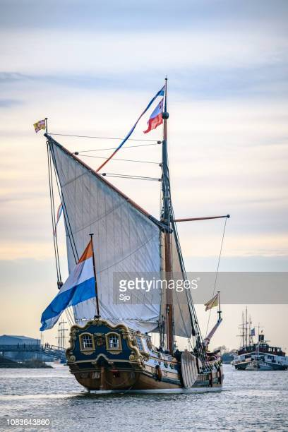 old sailing ship at the river ijssel during the 2018 sail kampen event - overijssel stock photos and pictures