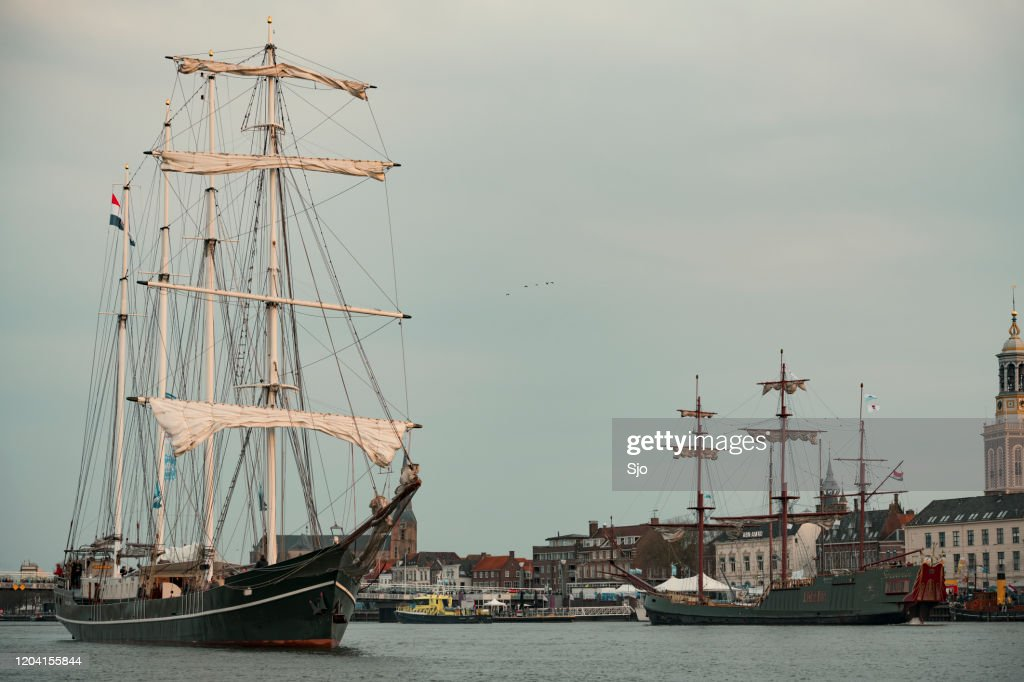Old sailing ship at the river IJssel during the 2018 Sail Kampen event : Stock Photo