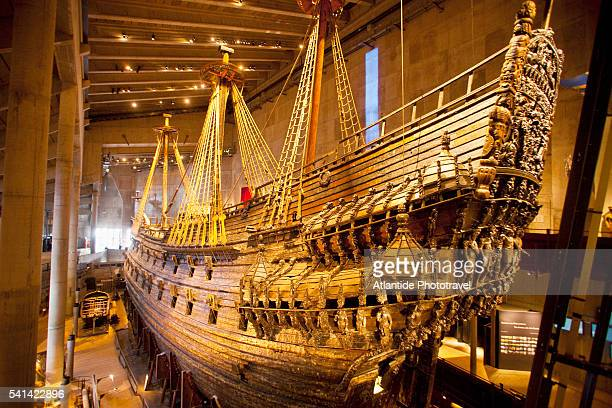 old sailing ship on display, vasa museum, stockholm, sweden - vasa ship stock pictures, royalty-free photos & images