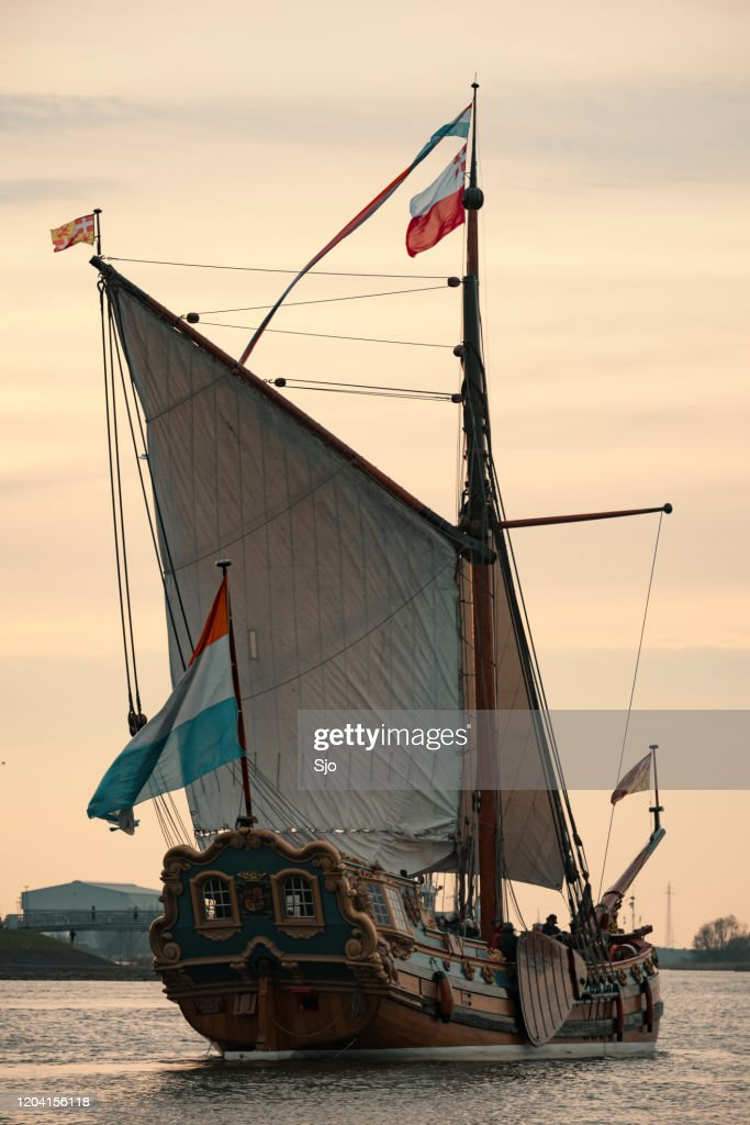 Old sailing ship State-yacht De Utrecht at the river IJssel during the 2018 Sail Kampen event : Stock Photo