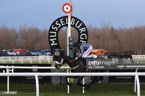 Old Salt ridden by Alain Cawley crosses the line during the first fixture at Musselburgh racecourse following meetings being cancelled due to an...