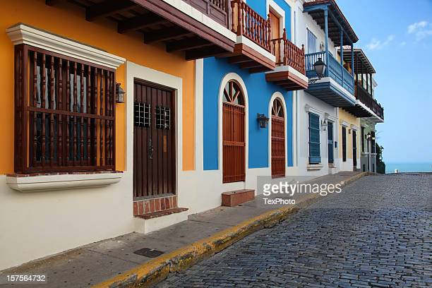 old san juan street. - puerto rico stock pictures, royalty-free photos & images