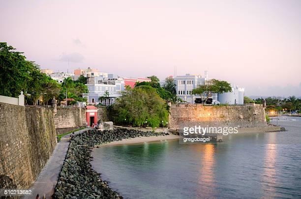 old san juan wall in puerto rico at night - old san juan wall stock photos and pictures