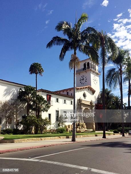 old santa barbara courthouse: santa barbara, ca - santa barbara county courthouse stock pictures, royalty-free photos & images