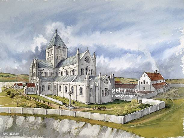 Old Sarum Cathedral c1150 Reconstruction drawing of the second cathedral in c1150 Old Sarum the earliest settlement of Salisbury in England An Iron...