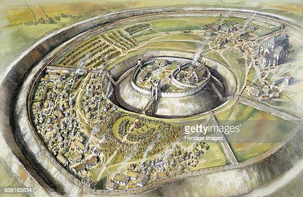 Old Sarum Distant aerial view reconstruction drawing of William the Conqueror receiving the barons in 1086 Old Sarum the earliest settlement of...