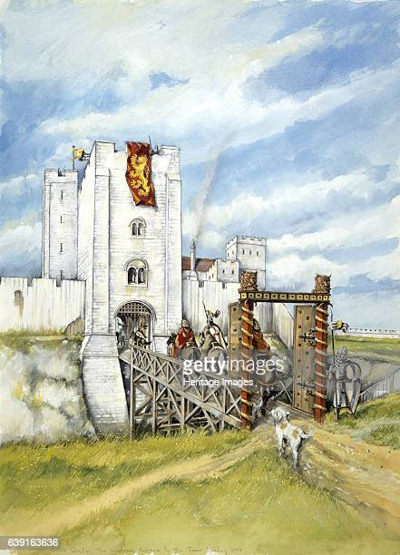 Old Sarum Reconstruction drawing of the castle gatehouse entrance to the inner bailey at Old Sarum the earliest settlement of Salisbury in England An...