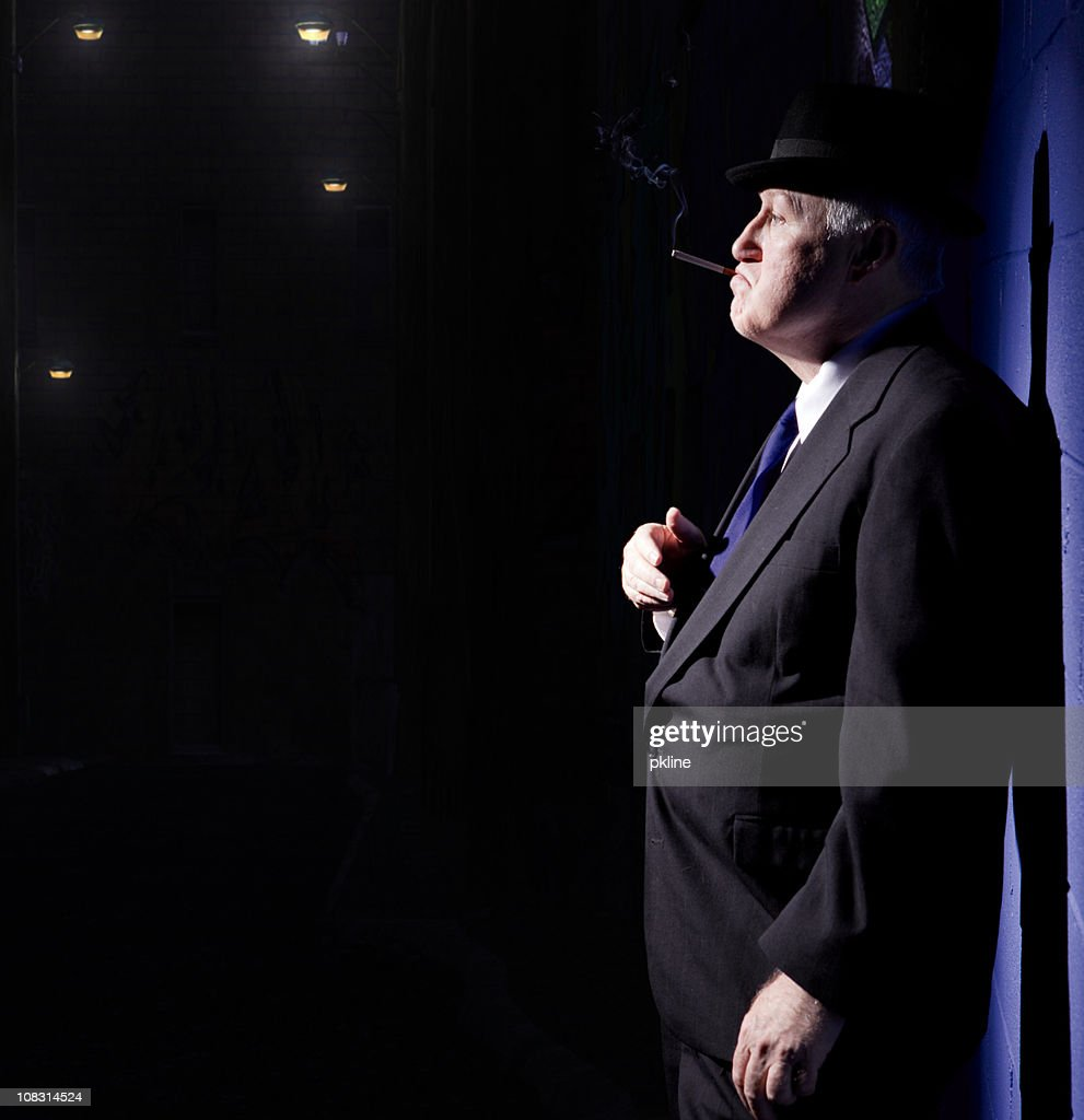 Old School Detective in Alley : Stock Photo