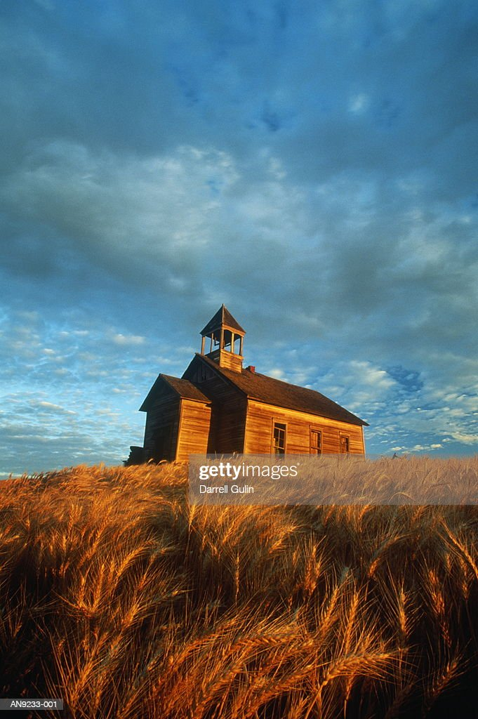 Old schoolhouse in wheat field, autumn, Washington, USA : Stock Photo