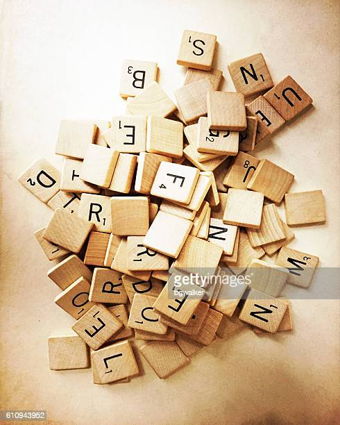 Old Scrabble Tiles in Pile