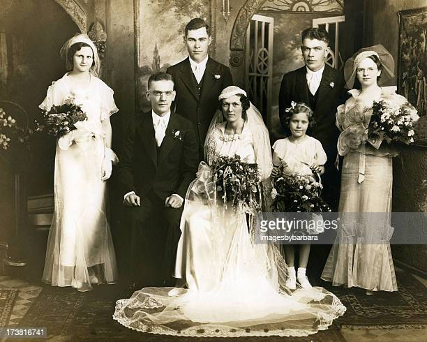old sepia photograph of a group at a wedding - marriage stock pictures, royalty-free photos & images