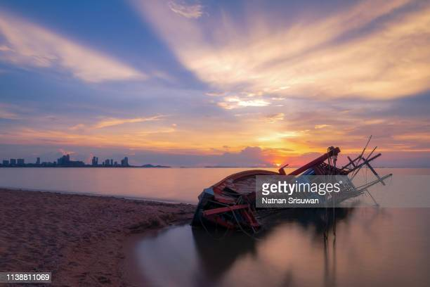 old shipwreck. - stranded stock photos and pictures