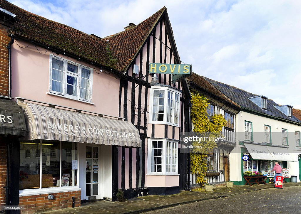 Old shops in the market place, Lavenham : Stock Photo