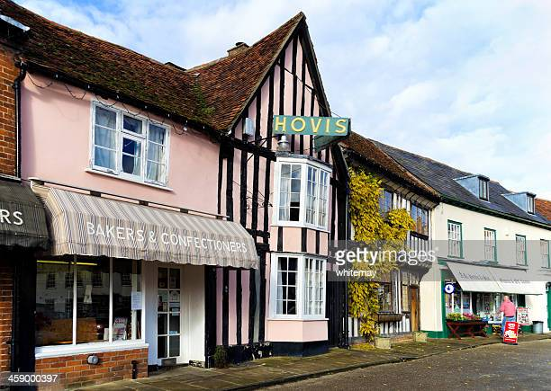 old shops in the market place, lavenham - suffolk england stock photos and pictures