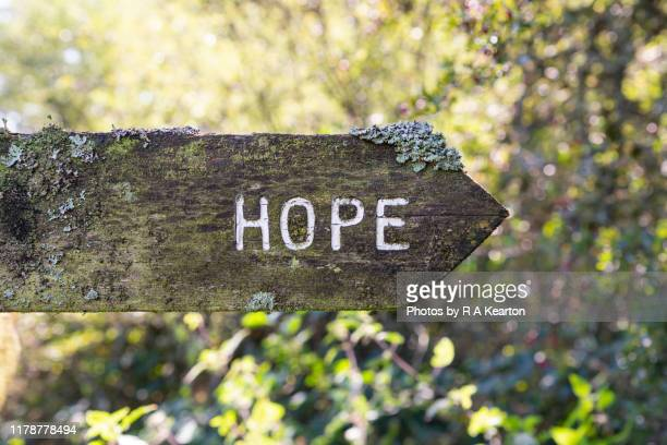 old signpost to hope, derbyshire, england - single word stock pictures, royalty-free photos & images