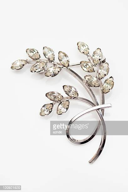 old silver and diamond vintage brooch - brooch stock pictures, royalty-free photos & images