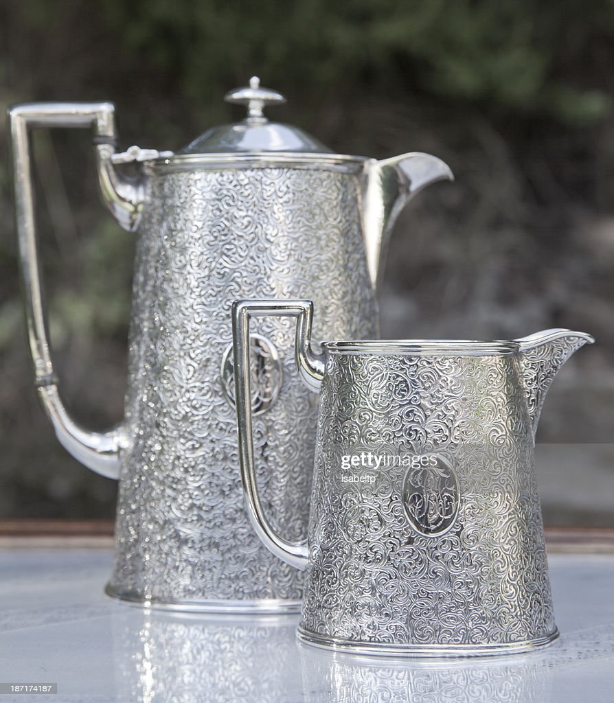 Old Silver Coffee Pot And Milk Jar Stock Photo