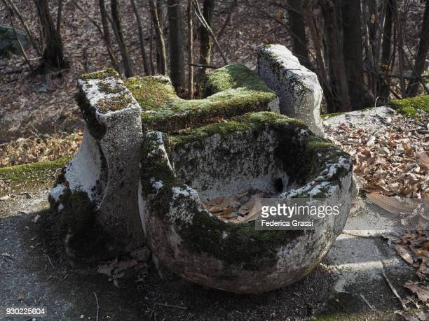 old sink made of stone, abandoned in a forest on montorfano - palangana fotografías e imágenes de stock