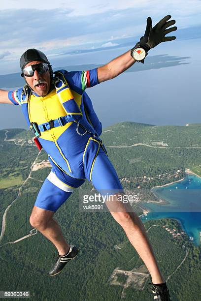 Old skydiver in action