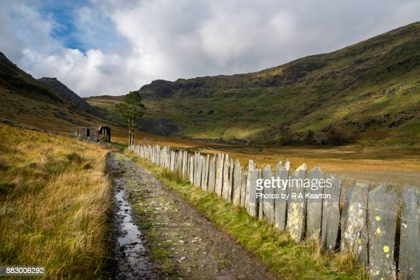 Old slate fencing on path from Cwmorthin to Rhosydd quarry, North Wales