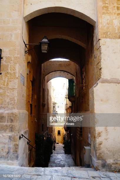 Old Small Alley in Historic Valletta, Malta