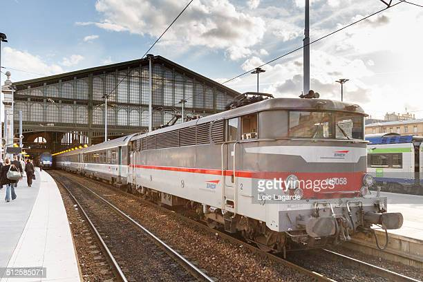 Old SNCF locomotive and train corail in gare du nord in paris september 2011