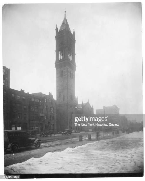 Old South Church seen from across Boylston Street snow on ground and cars parked along curbs Boston Massachusetts 1906