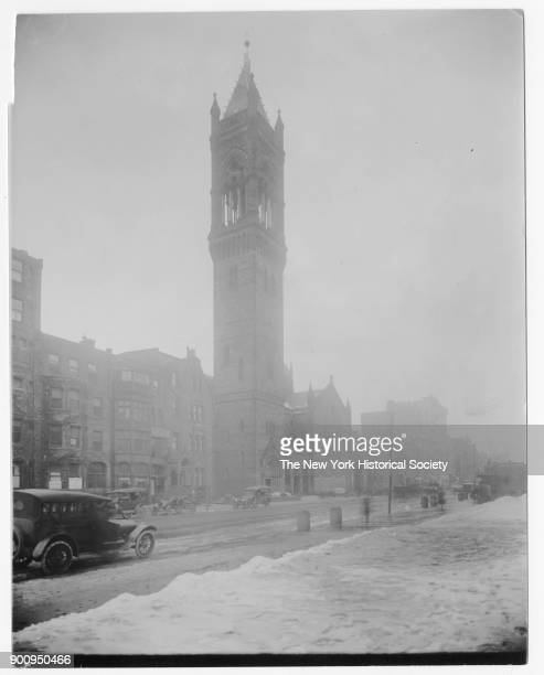 Old South Church seen from across Boylston Street, snow on ground and cars parked along curbs, Boston, Massachusetts, 1906.