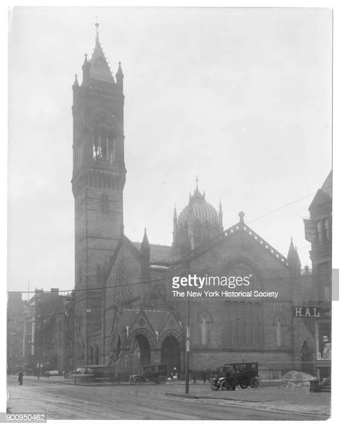 Old South Church seen from Boylston Street two parked cars in front Boston Massachusetts 1906