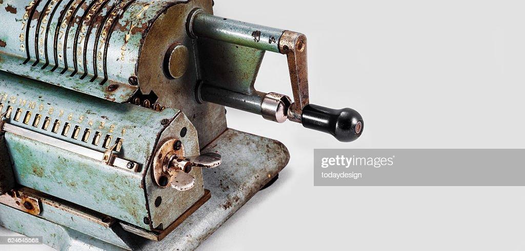 Old Soviet Mechanical Calculator Adding Machine Stock Photo