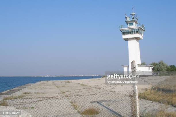 old soviet military tower in donuzlav, crimea - argenberg stock pictures, royalty-free photos & images