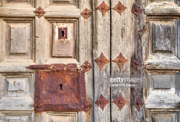 old spanish architectural details of vintage house doors... - valladolid spanish city stock pictures, royalty-free photos & images