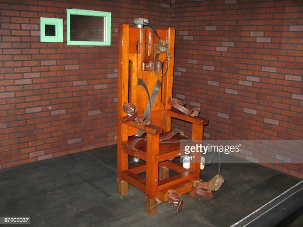 'Old Sparky' the decommissioned electric chair in which 361 prisoners were executed between 1924 and 1964 is pictured 05 November 2007 at the Texas...
