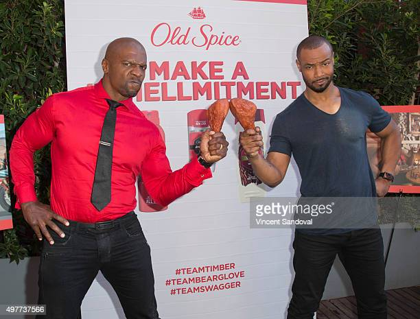 Old Spice Guys Terry Crews and Isaiah Mustafa celebrate their popular Make A Smellmitment campaign at The Library Room at The Redbury Hotel on...