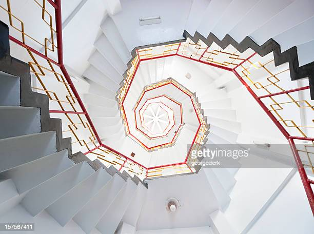 old spiral staircase - illusion stock pictures, royalty-free photos & images