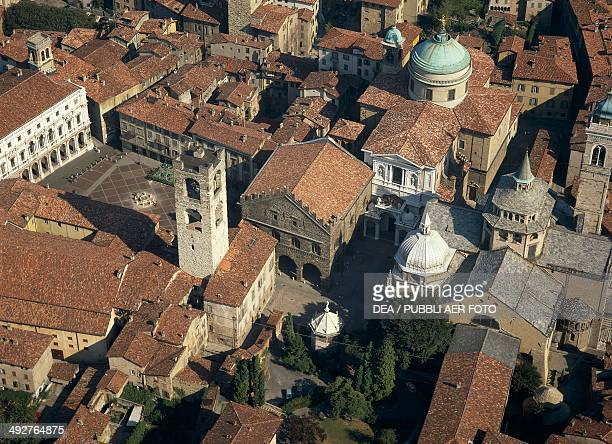Old square and Cathedral square 15th century Bergamo Lombardy Italy
