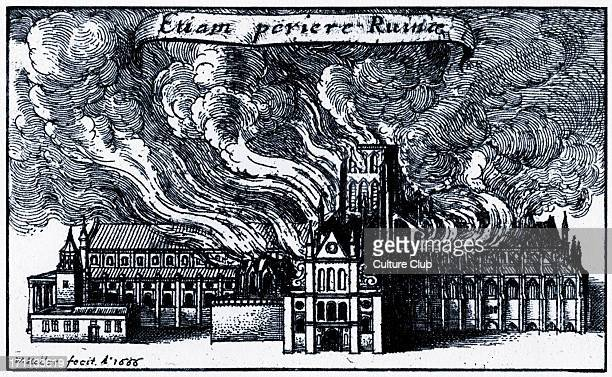 Old St Paul 's on fire during the Great Fire of London 1666 St Paul's Cathedral was later built in its place Engraving by Wenceslaus Hollar